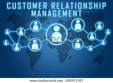 Customer Relationship Management concept on blue background with world map and social icons. - stock photo