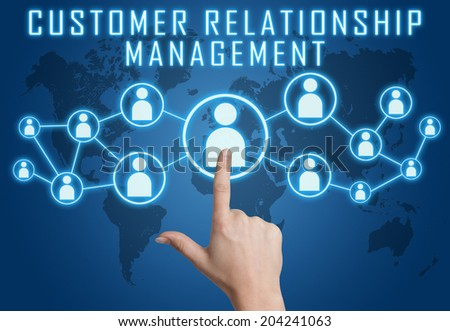 Customer Relationship Management concept with hand pressing social icons on blue world map background. - stock photo