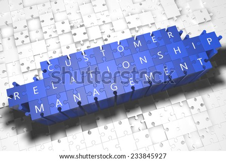 Customer Relationship Management - puzzle 3d render illustration with block letters on blue jigsaw pieces  - stock photo
