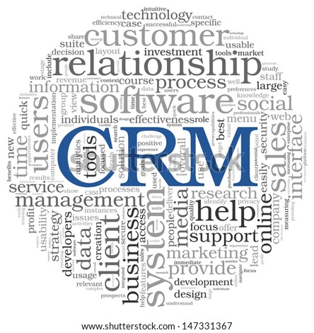 Customer Relationship Management System CRM in word tag cloud - stock photo