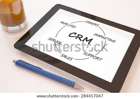 Customer Relationship Management - text concept on a mobile tablet computer on a desk - 3d render illustration. - stock photo