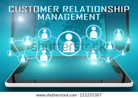 Customer Relationship Management - text illustration with social icons and tablet computer and mobile cellphones on cyan digital world map background - stock photo