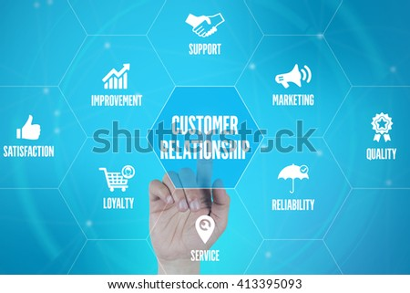 CUSTOMER RELATIONSHIP TECHNOLOGY COMMUNICATION TOUCHSCREEN FUTURISTIC CONCEPT - stock photo