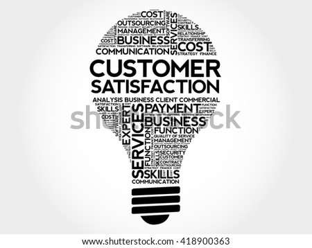 Customer Satisfaction bulb word cloud, business concept - stock photo