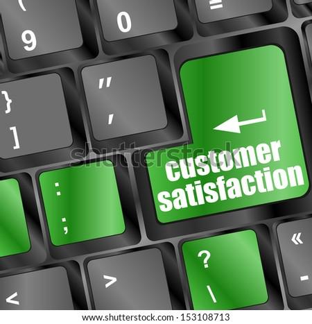 customer satisfaction key word on computer keyboard, raster - stock photo
