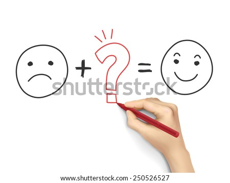 customer satisfaction symbols drawn by hand over white background  - stock photo