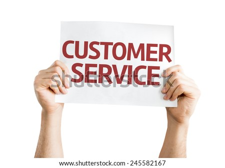 Customer Service card isolated on white background - stock photo