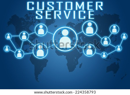 Customer Service concept on blue background with world map and social icons. - stock photo