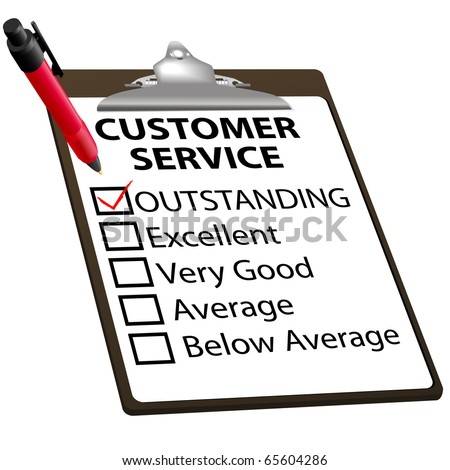 CUSTOMER SERVICE evaluation for quality with red check mark in OUTSTANDING box with clipboard and red ink pen. - stock photo