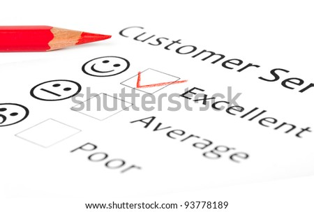 Customer Service Feedback Form Showing an Excellent Rating - stock photo