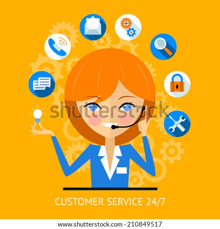 Customer service icon of a pretty smiling call center girl wearing a headset surrounded by various online web icons for payment  wifi  search  security and social media - stock photo