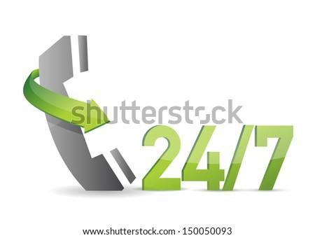 customer service 24 7 illustration design over a white background - stock photo