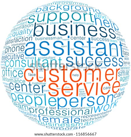 Customer service info-text graphics and arrangement concept (word cloud) in white background - stock photo