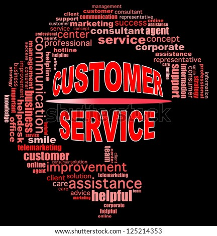 CUSTOMER SERVICE info text graphics and arrangement concept (word clouds) on black background - stock photo