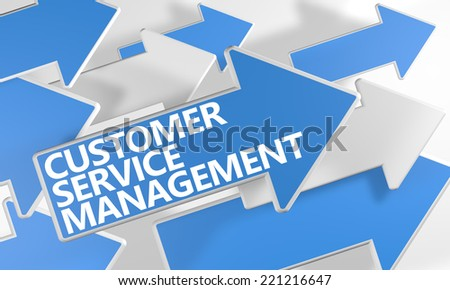 Customer Service Management 3d render concept with blue and white arrows flying over a white background. - stock photo