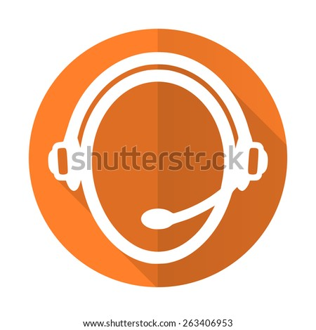 customer service orange flat icon   - stock photo