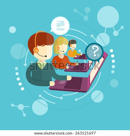 Customer service representative at computer in headset. Online support. Phone operator. Individual approach. Support centerand. Customer support interactivity in flat design concept. Raster version - stock photo