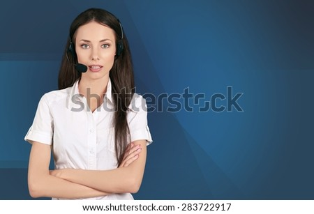Customer Service Representative, Headset, On The Phone. - stock photo