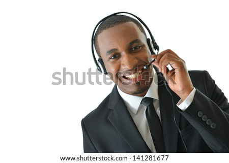 Customer Service Representative Holding Microphone - stock photo