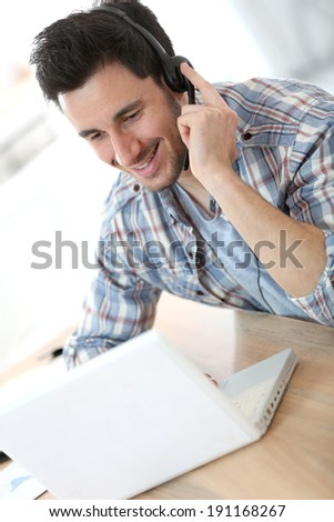 Customer service representative on the phone - stock photo