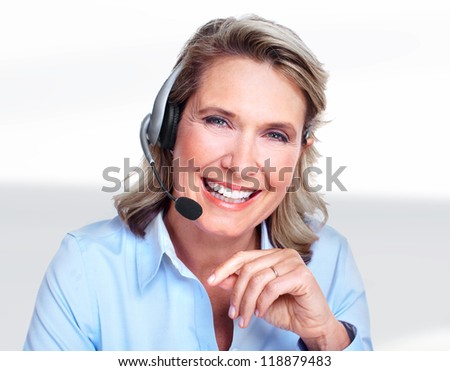Customer service representative woman working with headsets. - stock photo