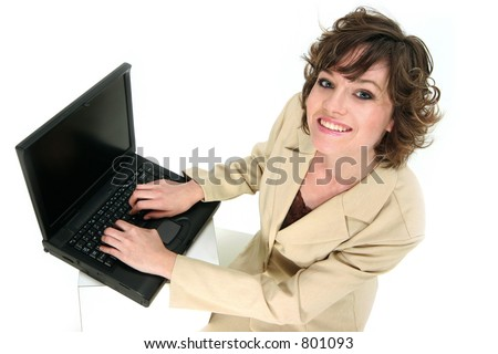 customer service reps communicating with you over her laptop - stock photo