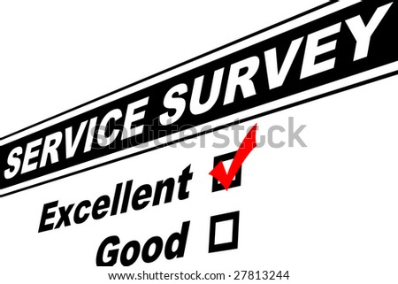 Customer service survey filled out with Excellent chosen isolated on white - stock photo