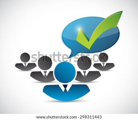 customer service team check mark message illustration design over white - stock photo