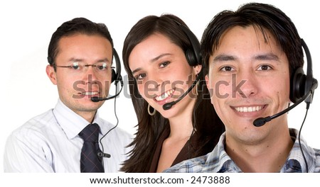customer service team over a white background - stock photo
