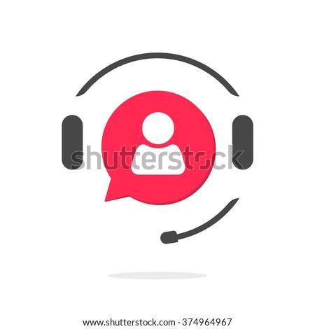 Customer support helpdesk logo symbol, assistant operator phoning badge, hotline communication emblem, abstract headphones, bubble speech, agent user talking, flat icon design sign isolated image - stock photo