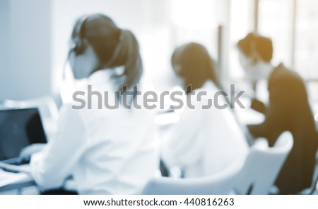 customer support service:blur officer working in headquarter center office room:staff training job career:blurry asian employee develop searching concept:worker learning studying:color effect filter. - stock photo