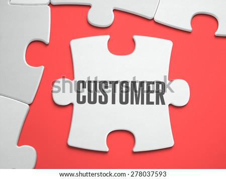 Customer - Text on Puzzle on the Place of Missing Pieces. Scarlett Background. Close-up. 3d Illustration. - stock photo
