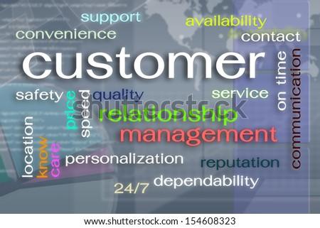 Customer word cloud on virtual reality screen - stock photo