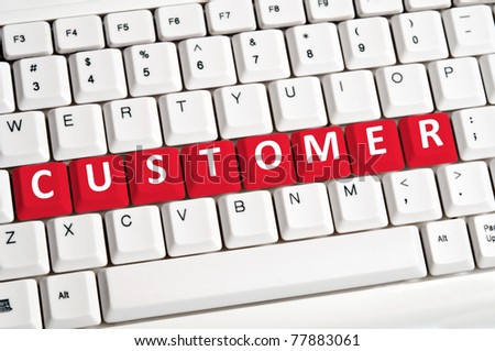 Customer word on white keyboard - stock photo