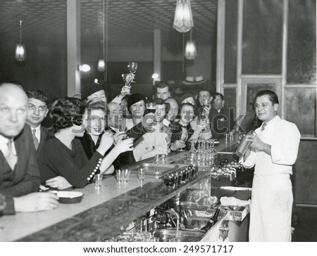 Customers at a Philadelphia bar after Prohibition's end, Dec. 1933. - stock photo