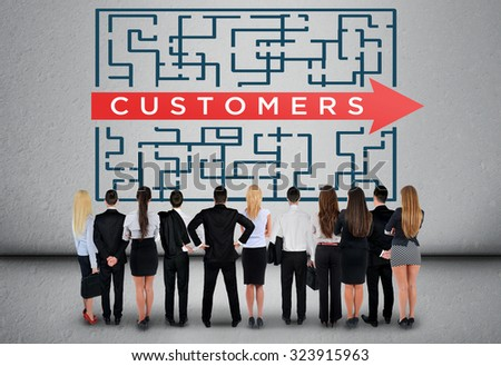 Customers word maze and business team thinking solution - stock photo