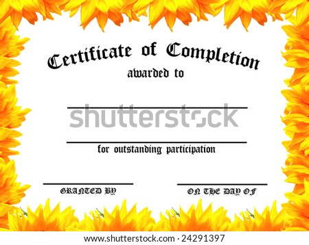 Customizable Certificate of Achievement with sunflower frame - stock photo