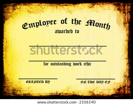 Customizable Employee of the Month Certificate - stock photo