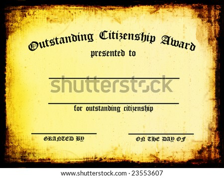 Customizable Outstanding Citizenship Certificate - stock photo