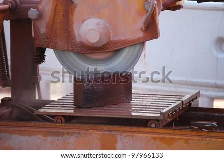 Cut a brick - stock photo