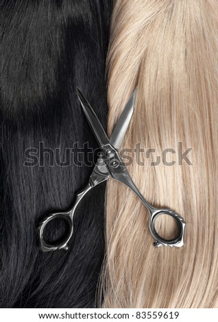 Cut a long straight black and blond hair - stock photo