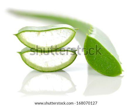 cut aloe leaves isolated on white background - stock photo