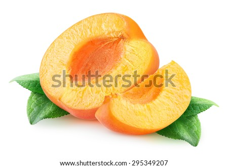 Cut apricots with leaves over white background, with clipping path - stock photo