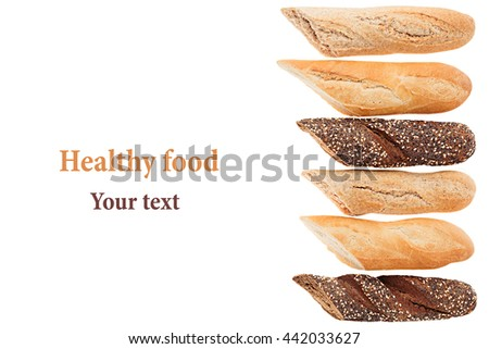 Cut baguette bread of different varieties on a white background. Rye, wheat and whole grain bread. Isolated. Decorative frame of bread. Food background. Copy space. - stock photo