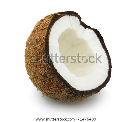 Cut coconut. Use it for a health and nutrition concept. - stock photo