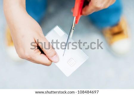 cut credit card - stock photo
