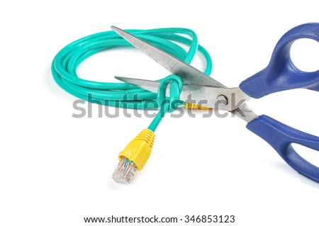 Cut ethernet cable - stock photo