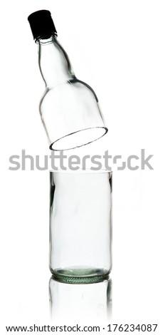 cut glass wine bottle isolated on white - stock photo