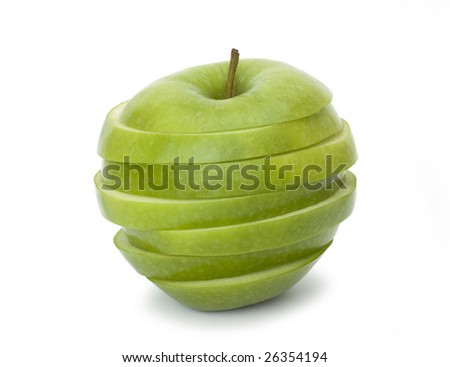 Cut green apple on a white background - stock photo