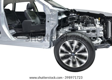 Cut image shows details of the chassis, engine and undercarriage of the vehicle family. - stock photo